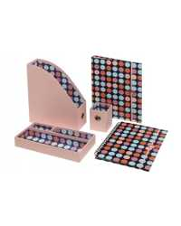 DESK ACCESSORY BANTEX 5 PIECE SET PINK DOT