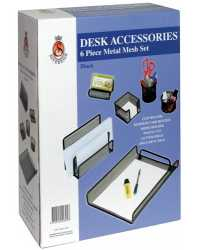 DESK ACCESSORY SET 6 PIECE BLACK METAL MESH SET