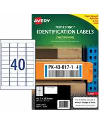 LABEL AVERY 45.7X25.4MM L6140 TRIPLEBOND PERMANET 40UP PK10