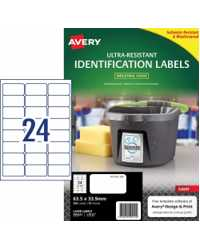 LABEL AVERY 63.5X33.9MM ULTRA-RESISTANT OUTDOOR 24UP PK10