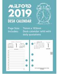 DESK CALENDAR REFILL 2019 MILFORD 100X75MM SIDE OPENING