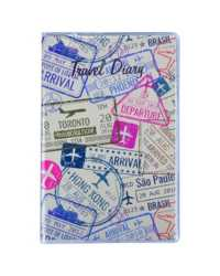 TRAVEL DIARY C/LAND 150X95MM PASSPORT DESIGN CLEAR PVC COVER