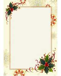 PAPER GEO XMAS A4 SNOWFLAKE & HOLLY GOLD FOIL PK15