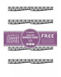 BUSINESS CARDS GEO BLACK & WHITE DAMASK 1800GSM PK250