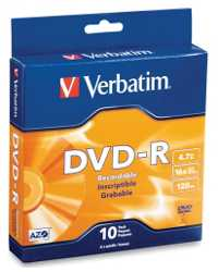 DVD-R VERBATIM 120MIN 16X 4.7GB SPINDLE 10