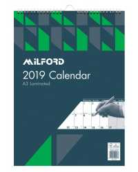 CALENDARS 2019 MILFORD A3 LAMINATED MONTH TO VIEW