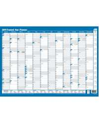 PLANNER 2019 SASCO FRAMED 500MMx700MM 10587 YEAR TO VIEW BLUE