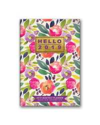 MONTHLY PLANNER 2019 ORANGE CIRCLE 114X165MM BOLD BLOSSOMS