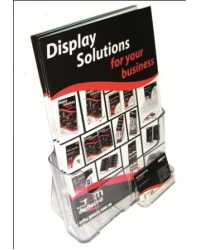 BROCHURE HOLDER DEFLECT-O A4 WITH BUSINESS CARD HOLDER