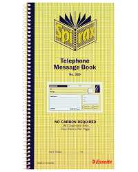 TELEPHONE MESSAGE BOOK SPIRAX 550 C/LESS  279x144MM PK10