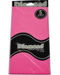TISSUE PAPER DIAMOND 500X750MM 17GSM CORAL ROSE 5 SHTS PK12