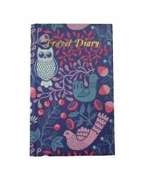 TRAVEL DIARY C/LAND CASE BOUND 170X105 OWL DESIGN