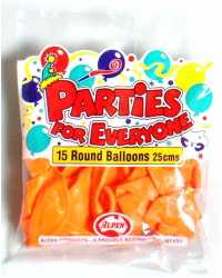 BALLOONS ALPEN 25CM ORANGE 15'S