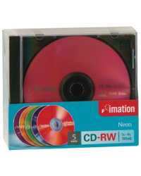 CD-RW IMATION 80MIN 12X 700MB NEON COLS PK5