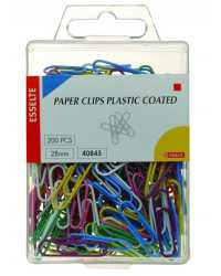 CLIP PAPER GLIDE ON COLOURED PVC COATED 28MM PK200