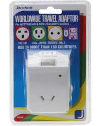 TRAVEL ADAPTOR OUTBOUND TOURIST+2 USB CHARGING OUTLETS UNIVERSAL