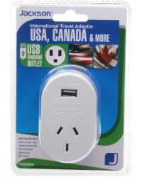 TRAVEL ADAPTOR OUTBOUND TOURIST+USB SUITS USA, CANADA & MORE