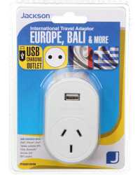 TRAVEL ADAPTOR OUTBOUND TOURIST+USB SUITS BALI, EUROPE & MORE