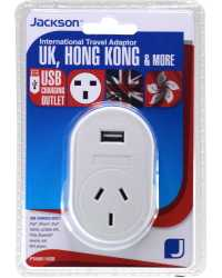 TRAVEL ADAPTOR OUTBOUND TOURIST+USB SUITS HONG KONG, UK & MORE