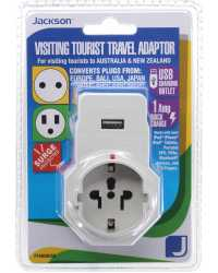 TRAVEL ADAPTOR INBOUND VISITOR+USB SUITS FROM EU,USA,ASIA, & MOR