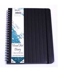VISUAL ART DIARY QUILL PREMIUM A4 120 PAGE WITH POCKET BLACK