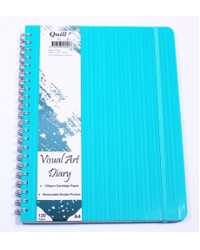 VISUAL ART DIARY QUILL PREMIUM A4 120 PAGE WITH POCKET AQUA