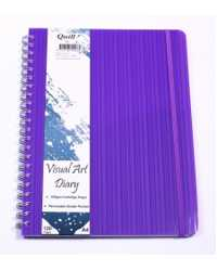 VISUAL ART DIARY QUILL PREMIUM A4 120 PAGE WITH POCKET VIOLET
