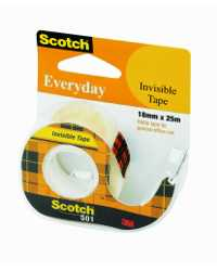 TAPE INVISIBLE EVERYDAY SCOTCH 501 18MMX25M ON DISPENSER H/SELL