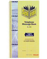 TELEPHONE MESSAGE BOOK SPIRAX WITH WATERMARK 279x144MM PK10