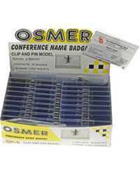 CONVENTION CARD NAME BADGES OSMER CLIP & PIN 92MMx60MM BX50